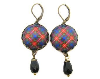 Scottish Tartan Jewelry - Ancient Romance Series - Fraser Clan Tartan Earrings with Onyx Black Czech Glass Charms