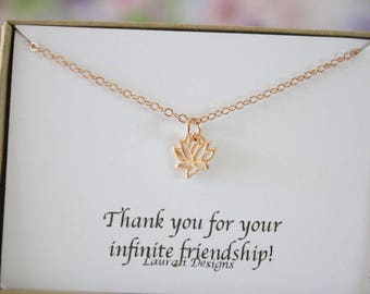 Tiny Lotus Necklace, Mother Gift, Rose Gold, Bestie Gift, Rose Gold Lotus Charm, Thank you card, Pink Gold Charm, Lotus Flower, layer charm