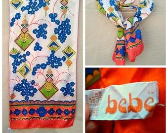 Vintage 70s scarf / Bebe scarf / silk blend, bright orange blue lime floral long / Japanese design / unique!