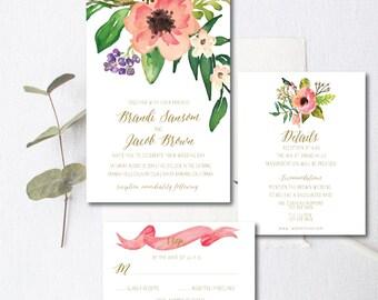 Wedding Invitation Set /Printable Wedding Invitation Suite / Wedding Invitation Suite - Watercolor, Peach Floral and greens