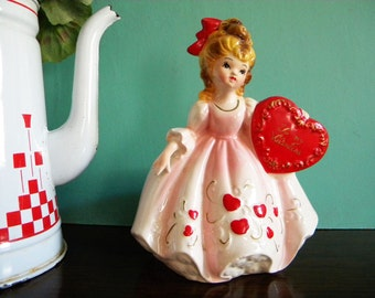 Vintage Valentine's Day Girl Planter Girl Holding Heart Beautiful Condition
