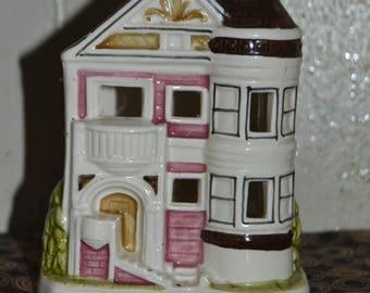 Vintage Otagiri Pink Victorian House Tea Light Candle Holder Made in Japan