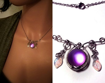 Purple Elven Fairy Necklace Elf Stone Glow Frosted Glass Doublet Dichroic Glass Pendant Renaissance Jewelry Celtic Cosplay