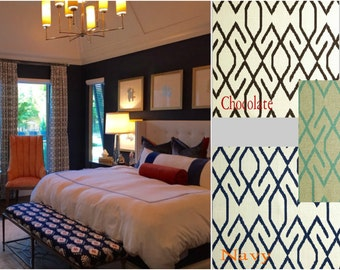 Mod Geo Drapes in chocolate, Navy, or Peacock - Lined