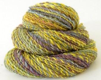 Handspun Yarn -  Hand Spun Superwash BFL Yarn - Art Yarn- 1.75oz, 120yd, 14WPI
