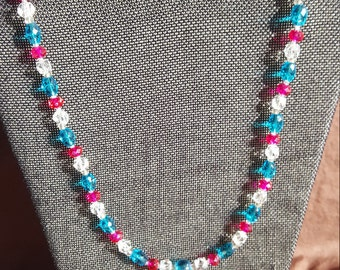 Bright Blue, Hot Pink, & Clear Beaded Necklace