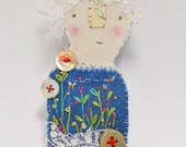 BROOCH or Pin - hand stitched bunny prim 'Little Folk' character