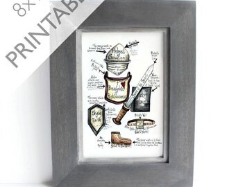 Download Printable Inspirational Art - Spiritual Armor - Inspirational Art - 8x10 - Ephesians 6 Scripture Prayer