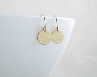 Gold Dot Earrings Small Gold Earrings Minimalist Jewelry Circle Dangle Earrings Gold Everyday Jewelry Holiday Gift For Wife Mom Girlfriend