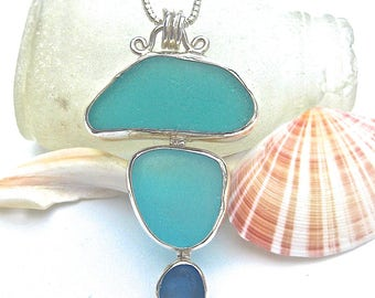 Turquoise - Aqua Sea Glass Necklace | Beach Glass Pendant | Sea Glass Jewelry | Beach Glass Jewelry | Sterling Silver | Pendant