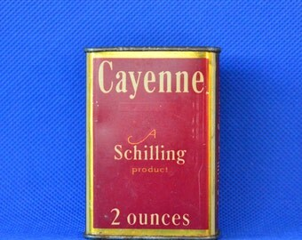 Vintage Schilling and Company San Francisco Cayenne Advertising Tin Spice Container c. 1930s