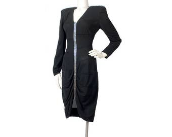 Vintage 80s Dress - 80 Black Dress - 80s  Bandage Dress - 80s Jersey Dress - Beaded Dress - Black Party Dress - Casadei - Black Jersey Dress