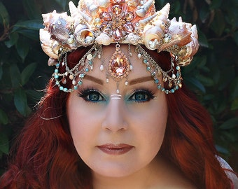 Mermaid Crown, Shell Crown, Mermaid Headpiece, Siren, Mermaid Hair Accessory, Mermaid Hair Wreath, Sea Queen, Festival