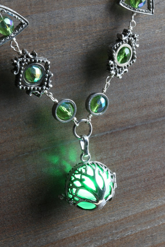 Tree of life necklace with green glowing orb - Lovely Valentine Gift - Antique Silver tone