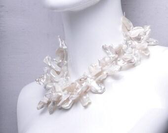 Rare Jumbo Keishi Pearl Double Strand Statement Necklace