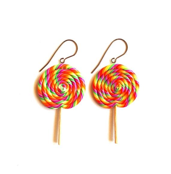 Rainbow Lollipop Earrings, Candy Earrings, Retro Giant Lollipop Charms, Candy Shop, Miniature Food Jewelry