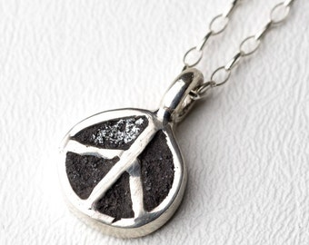 Peace Sign Necklace Sterling Silver Concrete  Boho Chic Bohemian Hippie Pendant