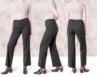 HIGH WAIST PANTS wool trousers Ann Taylor stretchy wool Women minimal modern slacks / Size 10 / waist 31 / better Stay together