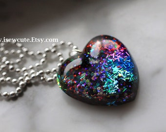 Mother's Day Heart Necklace, Multi-Color Heart Pendant Black, Blue, Purple, Red, Magenta, Lavender & Rainbow, Resin Jewelry by isewcute