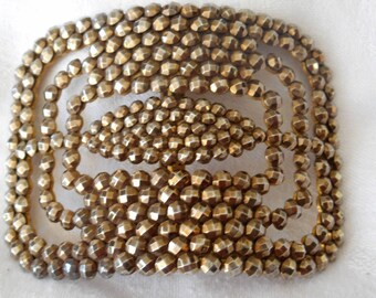 ANTIQUE French Antiqued Gold Riveted Cut Steel Belt Buckle