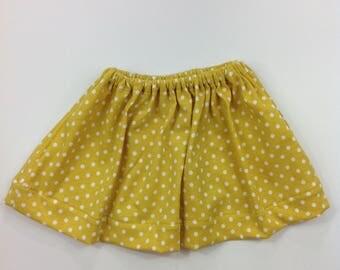 Baby Girl Yellow Twirl Skirt, Newborn Skirt, Girly Skirt, Polka Dot Newborn Skirt, Baby Skirt, Baby Shower Gift, Ready To Ship