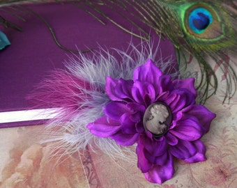 faerie tribal hair clip - cameo whispers, purple and grey flower & feather hair clip, cameo