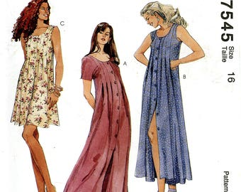 McCall's 7545 Dress Maxi Sleeveless Button Front Pleat Detailing Size 16 Uncut Vintage Sewing Pattern 1995