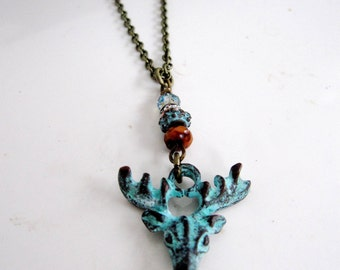 Deer Necklace, Deer Necklace, Antlers, Elk, Moose Head, Bohemian, Long Brass Chain Necklace, Woodland Necklace, Gardendiva