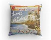 """NEW Art Pillow, Live Aloha, 14""""x14"""" pillow, Orchids, flowers, Hawaii, surf art, perfect decor accent pillow, great gift"""
