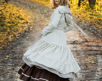 TWILIGHT WOOL JACKET - Boho Long coat Hippie Steampunk Bohemian Faery Fairy Gypsy Wedding Bride Mori Lagenlook Plus size - Off white