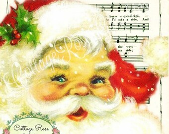 Vintage Santa Jingle Bells Music Christmas  Large digital download ECS buy 3 get one free