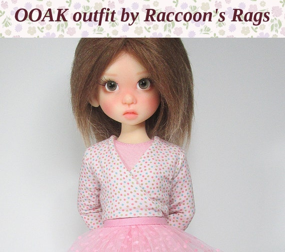"""OOAK  set for Kaye Wiggs dolls.  """"Ballet"""" #2 outfit.  Fits mei Mei (43cm) body.  Tights, leotard, wrap cardigan, and tutu."""