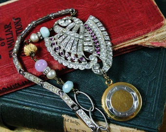 Vintage Re-purposed Upcycled Rhinestone Assemblage Gold Filled Locket  Necklace