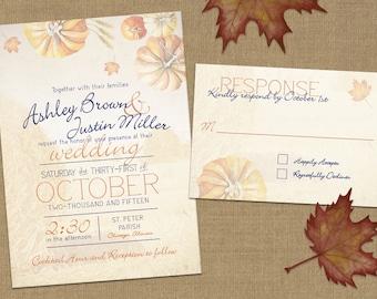 Fall Pumpkin and Leaves Invitation - PRINTABLE Invitation Set with RSVP card