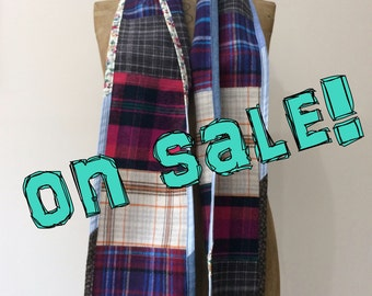Plaid Patchwork Scarf in soft cotton flannel, Handmade in Maine, gift for her