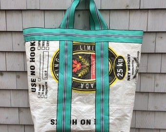 Recycled Canada Malting Grain Bag Tote, Laundry Bag, Storage Bag, Toy Bag, Beach Bag, handmade in Maine