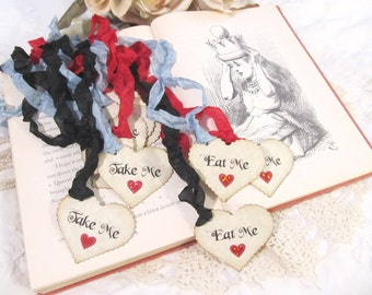 Alice Heart Favor Tags - Drink Me Take Me Eat Me - Red Sparkle Hearts - Alice in Wonderland Party Shower -Set of 12- Looking Glass Tea Party