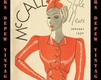 Vintage Pattern Catalog Booklet McCall Style News January 1937 Digital Copy -INSTANT DOWNLOAD-