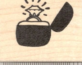 Diamond Engagement Ring Rubber Stamp, Wedding D21619 Wood Mounted
