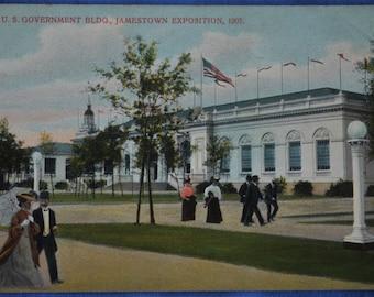 Postcard U S Government Bldg Jamestown Exposition 1907 Virginia Made Germany