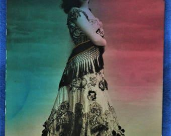 Woman Australian Dancer Saharet Costume Red Green Background 1907 Postcard