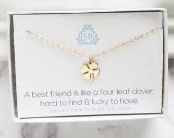 Best Friend Gift • Four Leaf Clover Necklace • Small Clover Charm • Lucky Charm • Clover Necklace • Shamrock Necklace • Friendship Jewelry