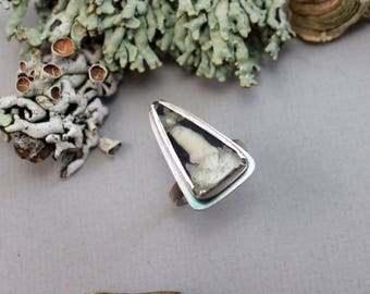BENEATH THE TREES ||| Handmade Ring with Real Tooth and Lichen - size 7.25