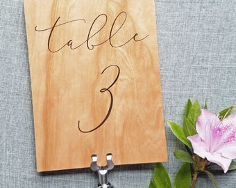 Wood Veener Wedding Table Number Signs with Calligraphy Script Font - Rustic Barn Outdoor Wedding