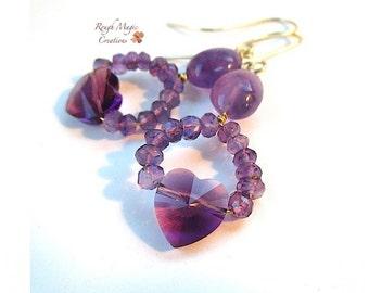 Amethyst Earrings, February Birthstone, Romantic Valentine Jewelry, Purple Gemstone Dangles, Swarovski Crystal Hearts, Gold Filled Ear Wires
