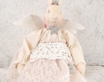 Shabby Easter Bunny Altered Assemblage Cream and Crochet Porcelain Angel Art Doll