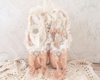 Shabby Rustic Tea Stained Brocante Tattered Ballet Slippers Worn Ballet Pointe Assemblage Art Shoes