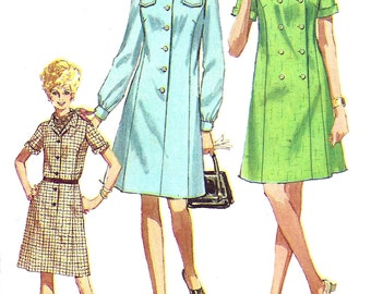 1960s Dress Pattern Vintage Simplicity Sewing Uncut Half Size Button Front Women's Misses Size 16. 5 Bust 39 Inches