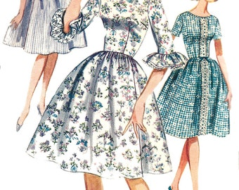 1960s Dress Pattern Butterick Quick Easy Full Skirt Vintage Sewing Junior Misses Women's Size 11 Bust 31 .5 Inches