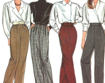 1980s Pants Pattern Slacks Trousers Style Brand Vintage Sewing Uncut Women's Misses Size 10 to 14 Waist 25 - 28 Inches